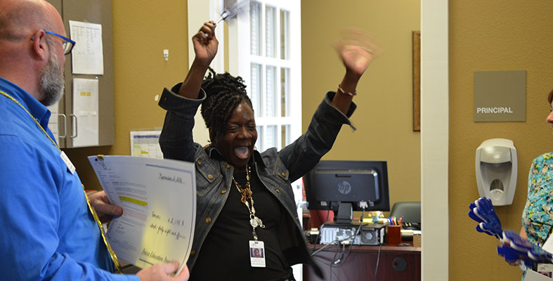 Lisa Thomas-Vernon is Surprised with Grant at Student Opportunity Center