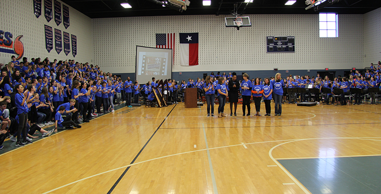 All Students and Staff Wear Blue to Recognize National Award