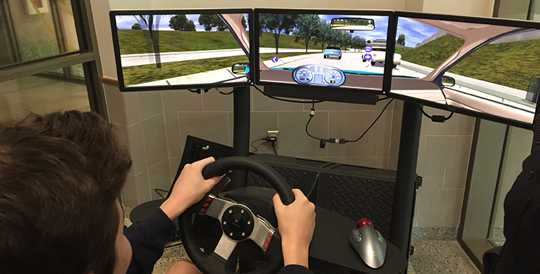 Simulator at Lebanon Trail High School Allows Students to Experience Dangers of Distracted Driving